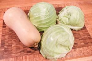 Cabbage and Squash used to make sauerkraut