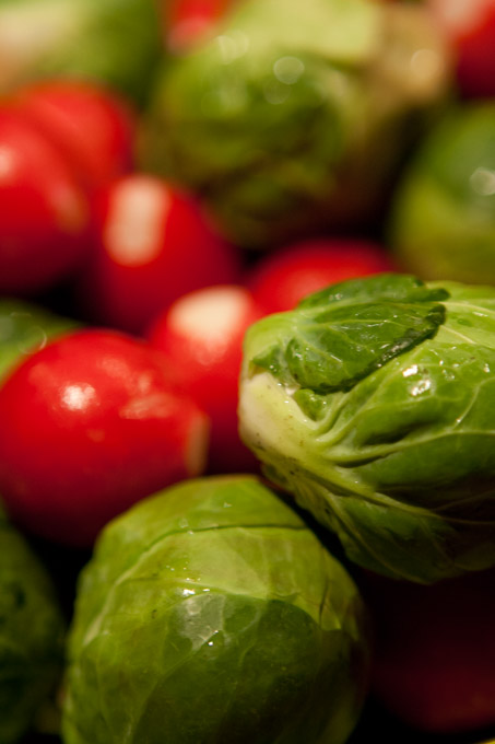 brussel sprouts and radishes