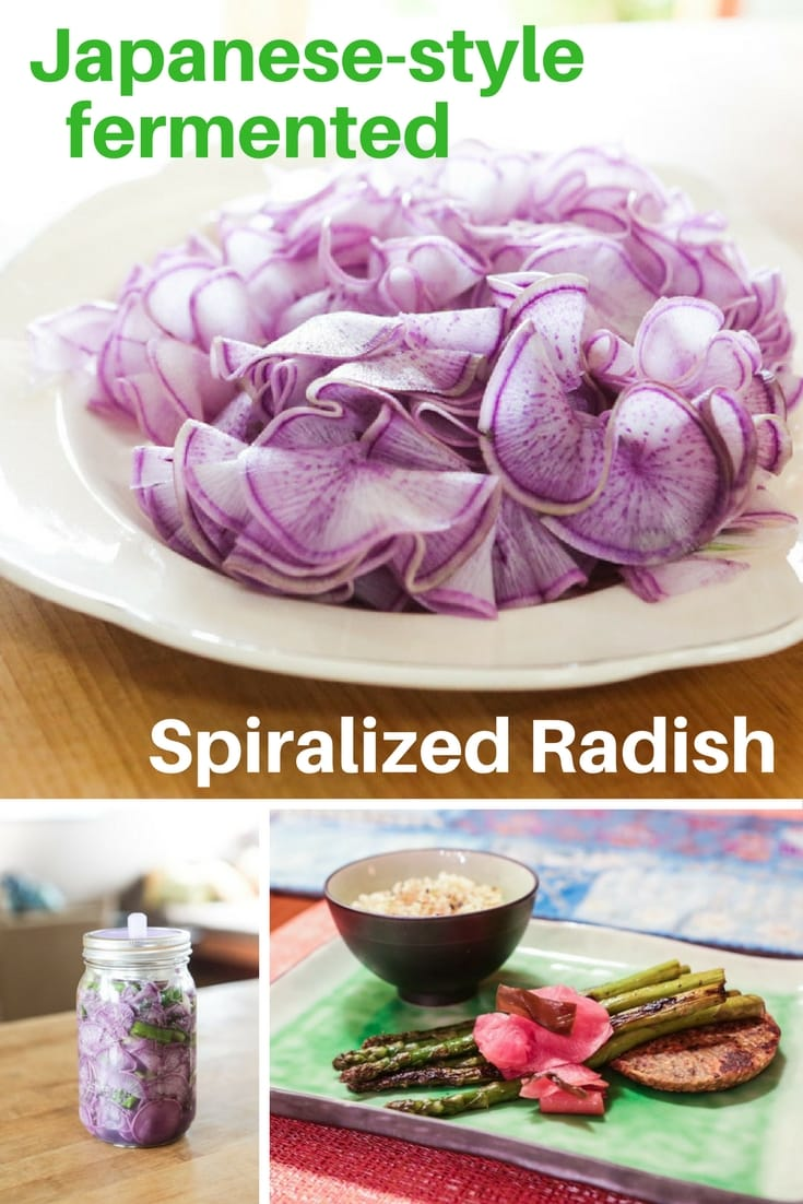 Very easy to make, this fermented Japanese-style spiralized radish recipe is the perfect tasty adornment for your Japanese-inspired meals. This recipe used purple daikon radish, but all sorts of radishes will do.